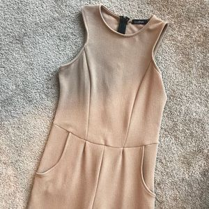 Sleeveless tan jumpsuit